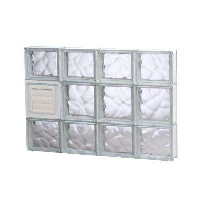 31 in. x 19.25 in. x 3.125 in. Wave Pattern Glass Block Window with Dryer Vent