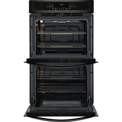 27 in. Double Electric Wall Oven Self-Cleaning in Black