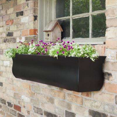 Self-Watering Valencia 4 ft. Black Polyethylene Window Box