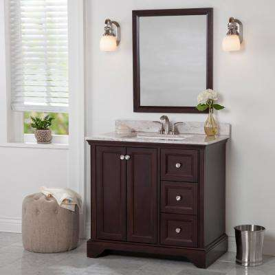 Stratfield 37 in. W x 22 in. D Bath Vanity in Chocolate with Stone Effect Vanity Top in Winter Mist with White Sink