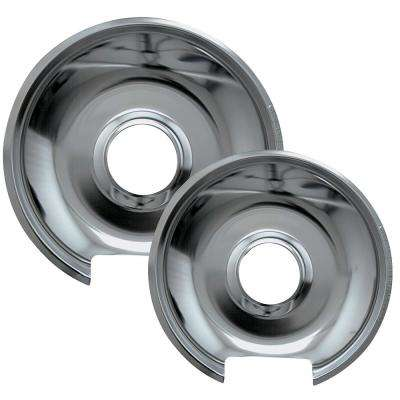 6 in. Small and 8 in. Large Drip Pan in Chrome (2-Pack)