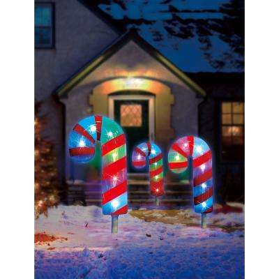 18.7 ft. Color Blast Remote Controlled RGB LED Candy Cane Pathway Markers (3-Pack)