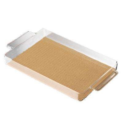 Fishnet Rectangular Serving Tray in Camel