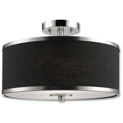Medford Collection 2-Light Satin Nickel Semi-Flush Mount Light Fixture with Black Fabric Shade