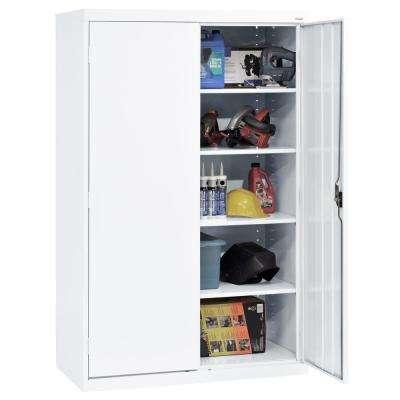 Elite Series 78 in. H x 46 in. W x 24 in. D 5-Shelf Steel Recessed Handle Storage Cabinet in White