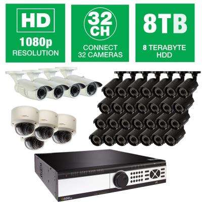 32-Channel 1080p 8TB Video Surveillance System with (28) Bullet Cameras, (4) Dome Cameras and (4) Auto-Focus Cameras