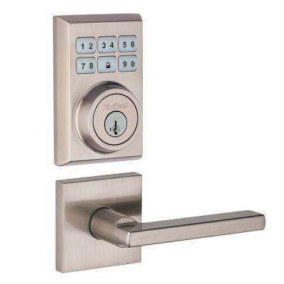 SmartCode Contemporary Single Cylinder Satin Nickel Electronic Deadbolt Feat SmartKey and Halifax Hall/Closet Lever