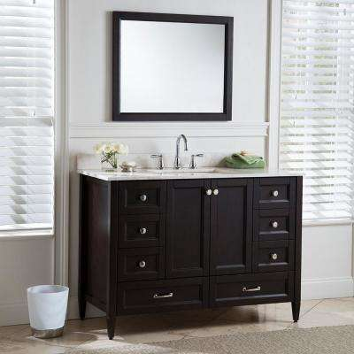Claxby 49 in. W x 22 in. D Bathroom Vanity in Chocolate with Stone Effect Vanity Top in Dune with White Sink