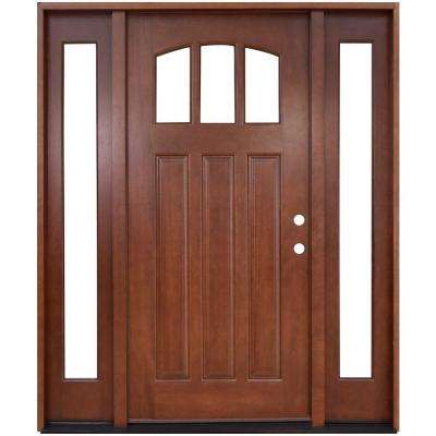 Exterior-Door-With-Glass. Craftsman 3 Lite Arch Stained Mahogany Wood Prehung Front Door With Sidelites