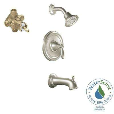 Brantford Single-Handle 1-Spray Posi-Temp Tub and Shower Faucet Trim Kit with Valve in Brushed Nickel