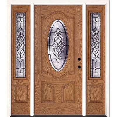 67.5 in.x81.625 in. Lakewood Patina 3/4 Oval Lite Stained Light Oak Left-Hand Fiberglass Prehung Front Door w/ Sidelites