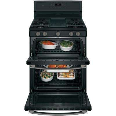 Profile 30 in. 6.8 cu. ft. Double Oven Gas Range with Self-Cleaning in Black Slate, Fingerprint Resistant