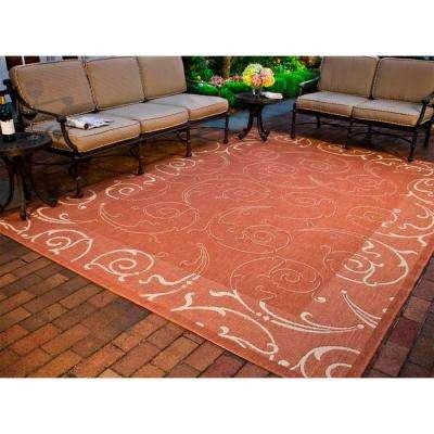 Courtyard Terracotta/Natural 7 ft. x 10 ft. Indoor/Outdoor Area Rug