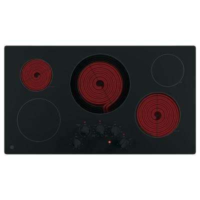 36 in. Electric Cooktop Built-in Knob Control in Black with 5 Elements