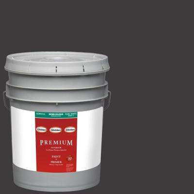 5-gal. #HDGCN65D Onyx Black Semi-Gloss Latex Interior Paint with Primer