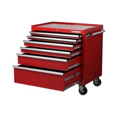 36 in. W x 24.5 in. D 6-Drawer Tool Chest Rolling Cabinet in Red