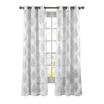 Penelope Cotton Blend Burnout Sheer Grommet Curtain Panel - 38 in. W x 84 in. L (1 Pair)