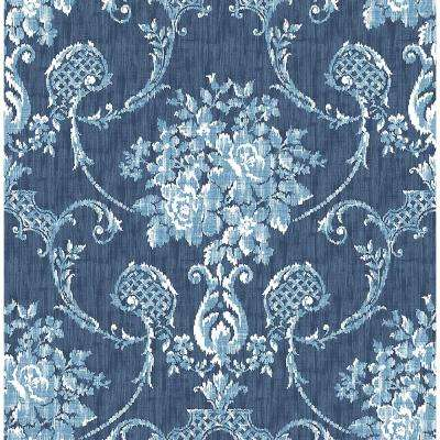 8 in. x 10 in. Winsome Blue Floral Damask Wallpaper Sample