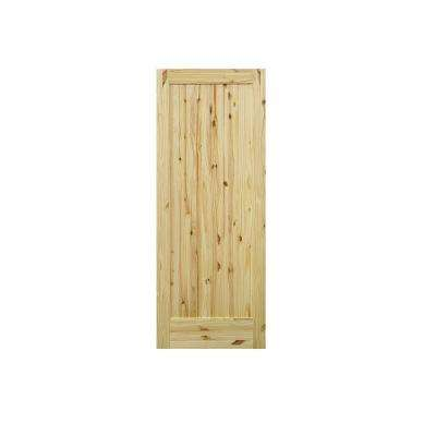 1-Panel Knotty Pine Single Prehung Interior Door with Bronze Hinges