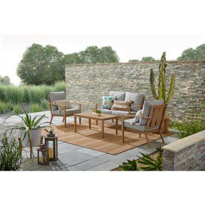 Alderton 4-Piece Brown Metal Outdoor Patio Conversation Deep Seating Set with Standard Stone Gray Cushions