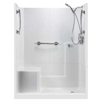 60 in. x 33 in. x 77 in. 3-Piece Low Threshold Shower Stall in White, Molded Seat, Accessories, Right Drain