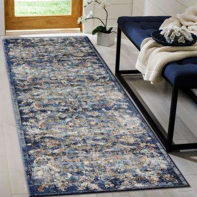 Gala Navy Multi 2 ft. x 9 ft. Indoor Runner Rug