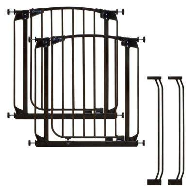 Chelsea 29.5 in. H Auto Close Security Gate in Black Value Pack with 2 Gates and 2 Extensions