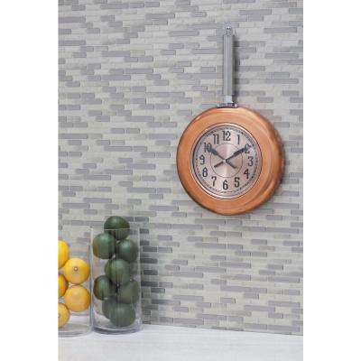 17 in. x 10 in. Metallics Frying-Pan-Inspired Round Wall Clock with Rose Gold Face and Copper-Finished Rim