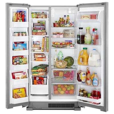 25 cu. ft. Freestanding Side by Side Refrigerator in Fingerprint Resistant Stainless Steel
