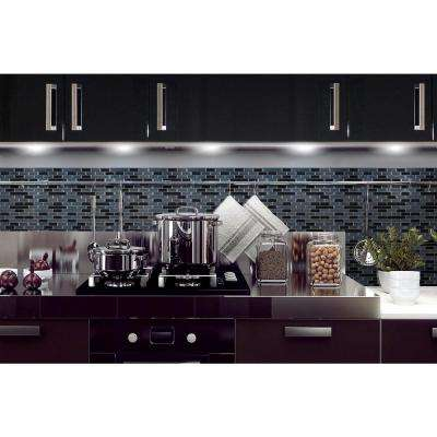 Muretto Nero 10.20 in. x 9.10 in. Peel and Stick Decorative Wall Tile Backsplash in Black, Charcoal Marble, Medium Grey