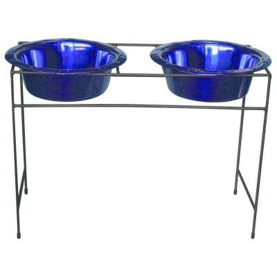 12 Cup Wrought Iron Modern Diner Dog Stand with Extra Wide Rimmed Bowls in Blue
