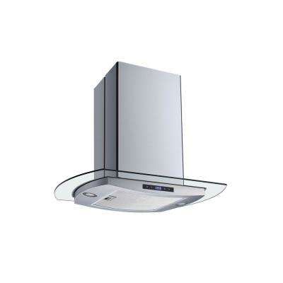 30 in. Convertible Island Mount Range Hood in Stainless Steel and Glass with Mesh Filter and Touch Control