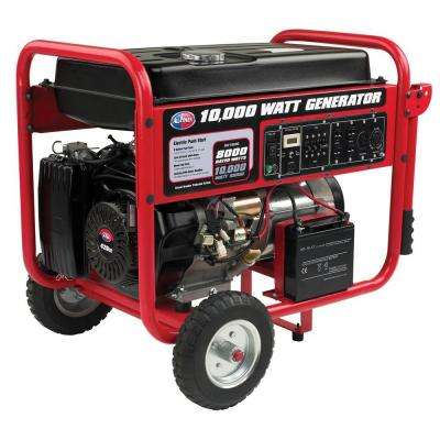 10,000-Watt Gasoline Powered Portable Generator with Mobility Cart, Electric Start