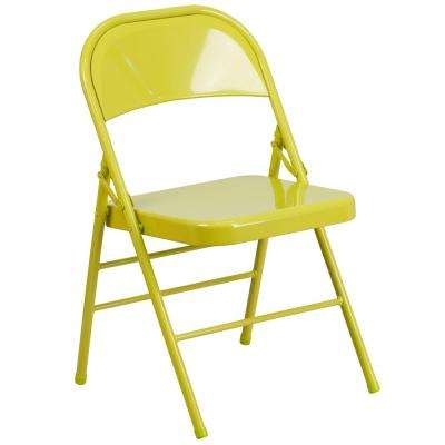 Hercules COLORBURST Series Twisted Green Yellow Citron Triple Braced and Double Hinged Metal Folding Chair