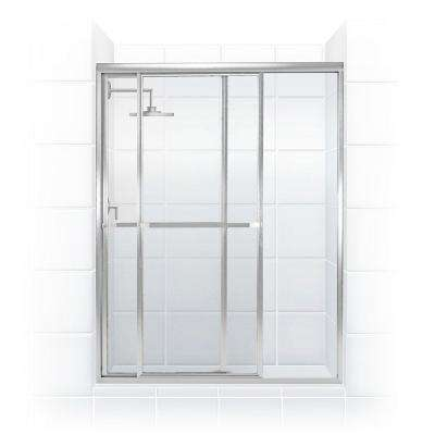 Paragon 42 in. to 43.5 in. x 66 in. Framed Sliding Shower Door with Towel Bar in Chrome and Clear Glass