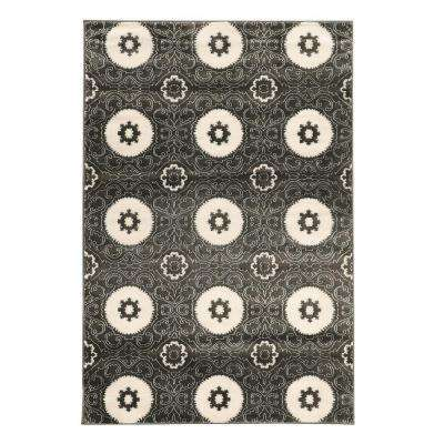 Prisma Karma Charcoal and White 5 ft. 3 in. x 7 ft. 6 in. Indoor Area Rug