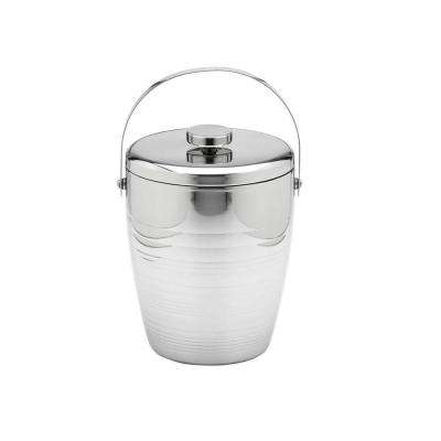 Groove 4 Qt. Polished Stainless Steel Ice Bucket