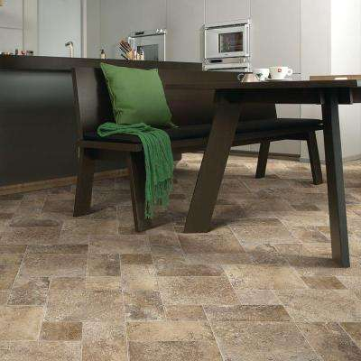 Coffee Diagonal Tile 12 ft. Wide Vinyl Sheet