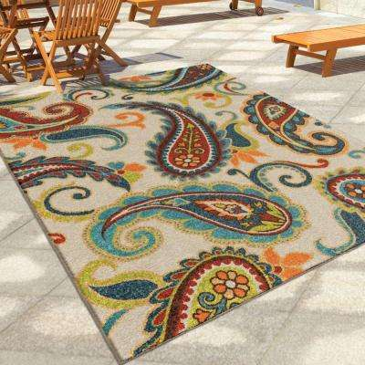 Wyndham Multi Paisley 8 ft. x 11 ft. Indoor/Outdoor Area Rug