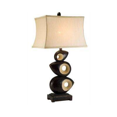 34 in. Antique Brass African Craft Table Lamp