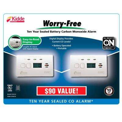 10-Year Worry Free Lithium Battery Carbon Monoxide Detector with Digital Display (2-pack)
