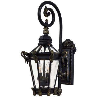 Stratford Hall 2-Light Heritage with Gold Highlights Outdoors Wall Mount