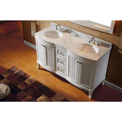 Khaleesi 61 in. W Bath Vanity in White with Marble Vanity Top in White with Round Basin and Mirror