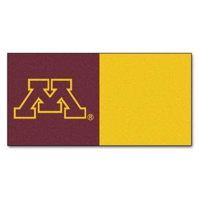 NCAA - University of Minnesota Maroon and Gold Nylon 18 in. x 18 in. Carpet Tile (20 Tiles/Case)