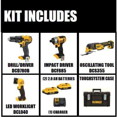 20-Volt MAX Lithium-Ion Cordless Combo Kit with Tough System Case (4-Tool) 2.0 Ah 2 Batteries and Charger