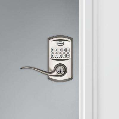917 SmartCode Satin Nickel Electronic Single-Cylinder Tustin Door Lever Featuring SmartKey Security