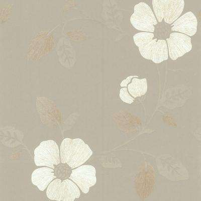 56 sq. ft. Madison Pewter French Floral Wallpaper