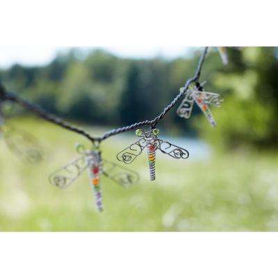 10-Light Clear Beaded Dragonfly String Light Set