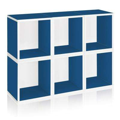 zBoard 6-Cubes Eco Cubby Organizer, Tool-Free Assembly Modular Storage Cubes in Blue