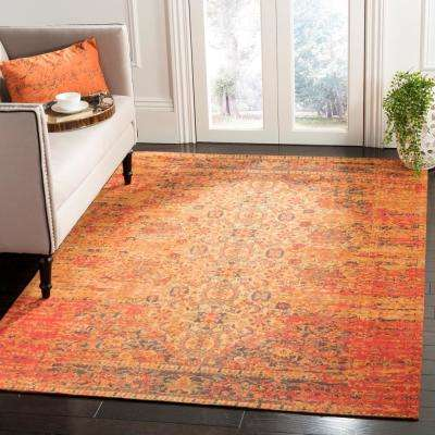 Classic Vintage Coral/Navy 5 ft. x 8 ft. Area Rug